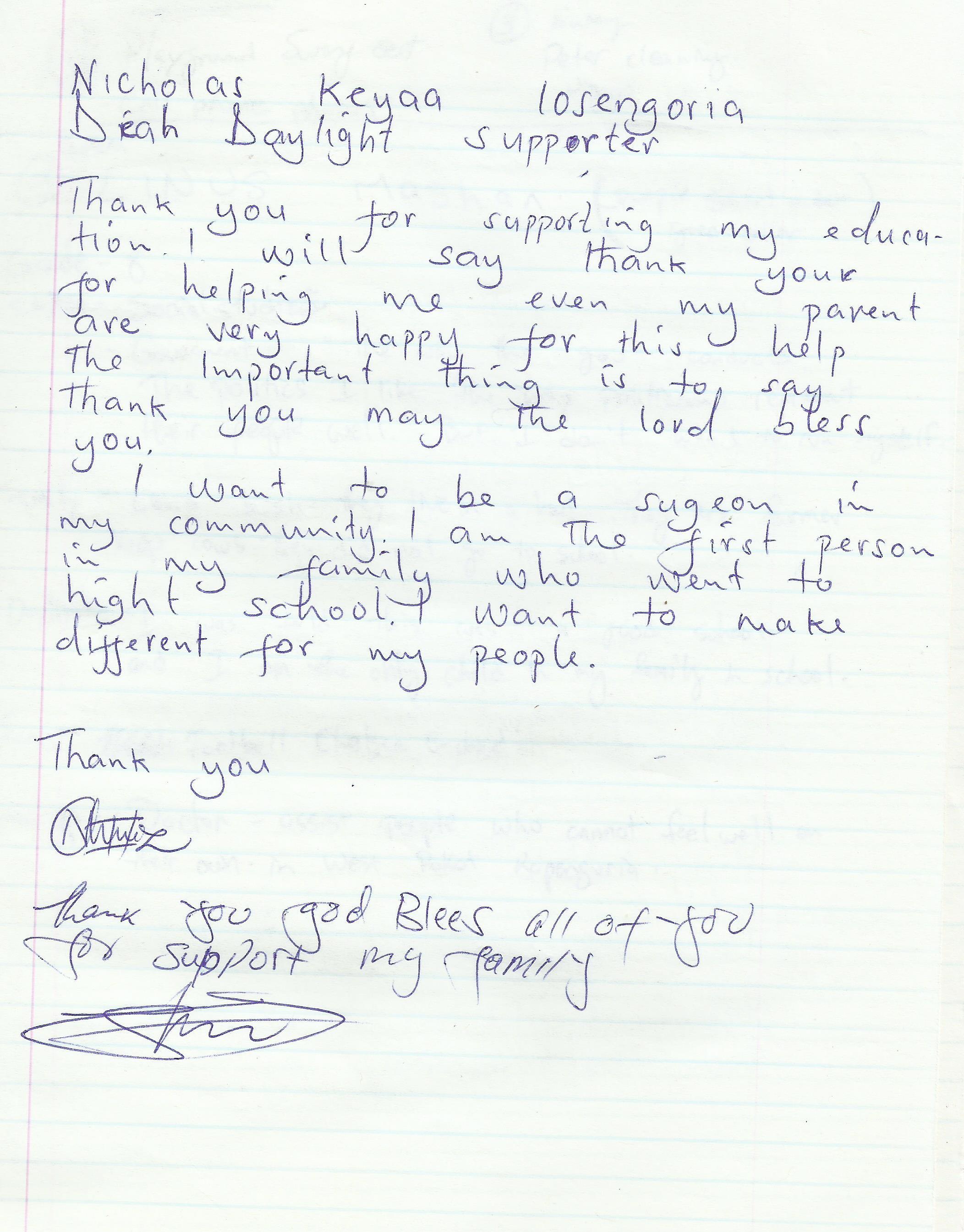 1 Nicholas Kaaya Letter