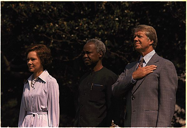 Julius Neyerere with President Jimmy Carter and First Lady Rosalynn Carter, 1977